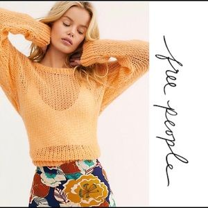 FREE PEOPLE WEAVE SWEATER/MANGO COLOR SIZE SMALL